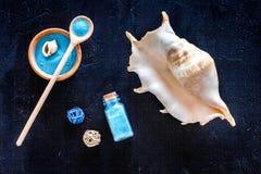 Косметика курорта установила с солью моря для ванны и раковиной на синем взгляд сверху предпосылки Стоковое Изображение