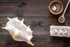 Косметика курорта установила с солью моря для ванны и раковиной на деревянном модель-макете взгляд сверху предпосылки Стоковое Изображение RF