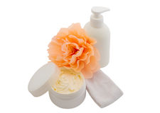 Косметика курорта creams и цветок изолированный на белизне Стоковая Фотография RF