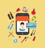 Косметика покупк женщины торгует в онлайн магазине Жулик электронной коммерции иллюстрация вектора