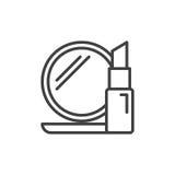 Косметики выравнивают значок, знак вектора плана, линейную пиктограмму стиля изолированную на белизне иллюстрация вектора