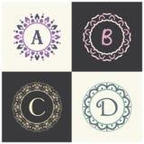 Косметики и марка товара красоты помечают буквами логотип a и b для того чтобы конструировать Вензель письма c и d Стоковое фото RF