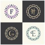 Косметики и письма f марки товара красоты и логотип h конструируют Вензель письма вектора g и e Стоковое Изображение RF