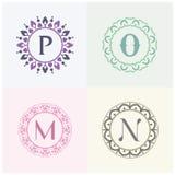 Косметики и письма p марки товара красоты и логотип o конструируют Вензель письма m и n Стоковые Фото