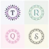 Косметики и письма t марки товара красоты и логотип r конструируют Вензель письма q и s Стоковое Изображение