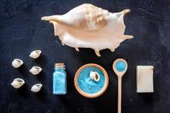 Косметики и раковина моря от мертвого моря для взгляд сверху предпосылки домодельного курорта темного Стоковое Изображение
