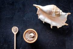 Косметики и раковина моря от мертвого моря для насмешки взгляд сверху предпосылки домодельного курорта темной вверх Стоковые Изображения RF