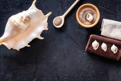 Косметики и раковина моря от мертвого моря для насмешки взгляд сверху предпосылки домодельного курорта темной вверх Стоковое Изображение RF