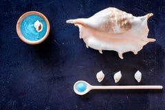 Косметики и раковина моря от мертвого моря для насмешки взгляд сверху предпосылки домодельного курорта темной вверх Стоковые Фото