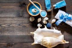 Косметики и раковина моря от мертвого моря для насмешки взгляд сверху предпосылки домодельного курорта деревянной вверх Стоковые Изображения RF
