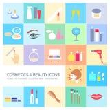 Косметики и установленные значки красоты бесплатная иллюстрация
