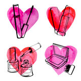 Косметики с сердцами Иллюстрация штока