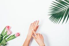 Косметическая сливк на женских руках, ветви ладони и букете пинка Стоковая Фотография RF