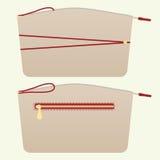 Косметическая сумка в бежевом цвете - фронт и задняя часть Стоковые Фотографии RF