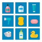 Косметические бутылки ванной комнаты химикатов домочадца поставляют жидкость домашнего хозяйства чистки пластичную детержентную ж бесплатная иллюстрация