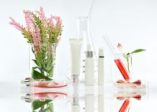 Косметические контейнеры бутылки с розовыми травяными листьями и научным стеклоизделием, пустым пакетом ярлыка для клеймя модель- Стоковое фото RF