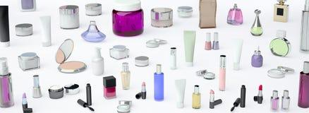 Косметические сливк, lipstik и дух на белой предпосылке бесплатная иллюстрация