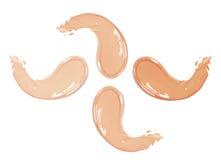 Косметический жидкостный комплект сливк учреждения в ходах мазка smudge другого цвета Составьте мазки изолированные на белой пред Стоковая Фотография RF