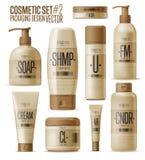 Косметический шаблон бренда Реалистический комплект бутылки Стоковые Изображения