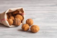 Косметическое и терапевтическое масло грецкого ореха на деревянной предпосылке Стоковые Фотографии RF