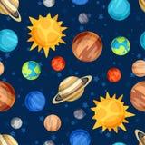 Космическая безшовная картина с планетами солнечного Стоковые Изображения RF