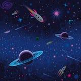 Космическая безшовная картина Стоковое Фото