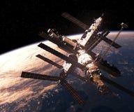 Космическая станция двигая по орбите сцена Earth Стоковое фото RF