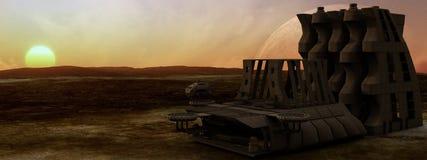 Космическая станция планеты пустыни иллюстрация штока