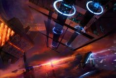 Космическая станция с футуристическими кораблями бесплатная иллюстрация