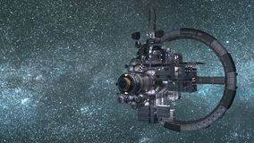 Космическая станция установленная против голубой предпосылки космического пространства иллюстрация штока