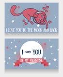 Космические карточки для влюбленности с кот-астронавтом doodle и предпосылкой звезд Стоковая Фотография