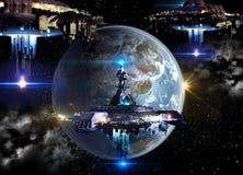 Космические корабли чужеземца вторгаясь земля иллюстрация вектора