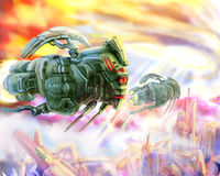 Космические корабли чужеземцев любят иллюстрация научной фантастики саранчи иллюстрация вектора