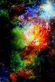 Космические космос и звезды, красят космическую абстрактную предпосылку Стоковые Фото