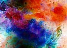 Космические космос и звезды, красят космическую абстрактную предпосылку Влияние огня в космосе Стоковое Изображение RF