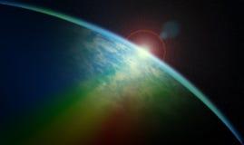 Космический восход солнца иллюстрация штока