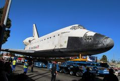 Космический летательный аппарат многоразового использования во время парада выхода на пенсию Стоковые Фото
