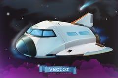 Космический летательный аппарат многоразового использования зацепляет икону иллюстрация штока