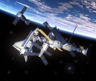 Космический летательный аппарат многоразового использования и космическая станция двигая по орбите сцена Earth иллюстрация штока