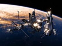 Космический летательный аппарат многоразового использования и космическая станция двигая по орбите сцена Earth Стоковое Изображение