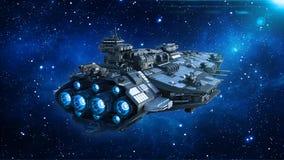 Космический корабль в вселенной, летание чужеземца корабля в глубоком космосе с звездами на заднем плане, вид сзади UFO, 3D предс иллюстрация штока