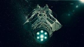 Космический корабль в космосе, летании корабля через вселенную иллюстрация штока