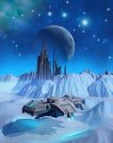 Космический корабль который исследует поверхность замороженной планеты чужеземца ища развалина, иллюстрация 3d Стоковая Фотография RF