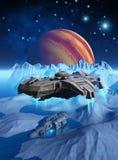 Космический корабль который исследует поверхность замороженной Европы луны, вокруг планеты Юпитера, ища развалина, 3d представляе Стоковые Изображения RF