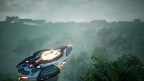 Космический корабль летая над неизвестной зеленой планетой Футуристическая концепция UFO перевод 3d Стоковое фото RF