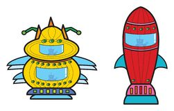 космический корабль ракеты 2 чужеземцев Стоковое Изображение
