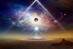 Космический корабль чужеземцев над колонией на земле планеты стоковое фото