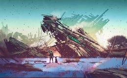 Космический корабль, который разбили на голубом поле Стоковое фото RF