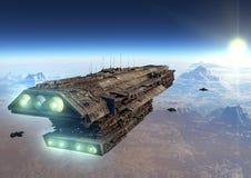 Космический корабль научной фантастики иллюстрация вектора