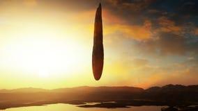 Космический корабль-носитель чужеземца над родоначальной землей Стоковое Изображение RF